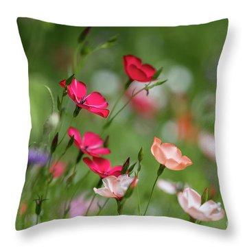 Wildflowers Meadow Throw Pillow