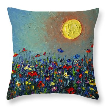Wildflowers Meadow Sunrise Modern Floral Original Palette Knife Oil Painting By Ana Maria Edulescu Throw Pillow