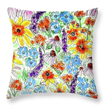 Throw Pillow featuring the painting Wildflowers  by Monique Faella