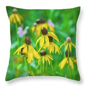 Throw Pillow featuring the photograph Wildflowers Of Yellow by Bill Pevlor