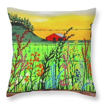 Wildflowers On The Farm Throw Pillow