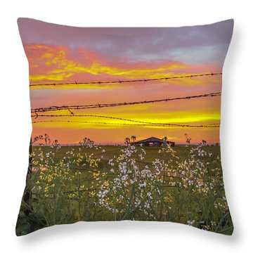 Wildflowers On The Ranch Throw Pillow