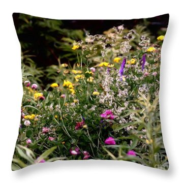 Throw Pillow featuring the painting Wildflowers by Smilin Eyes  Treasures