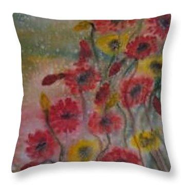 Wildflowers Still Life Modern Print Throw Pillow by Derek Mccrea