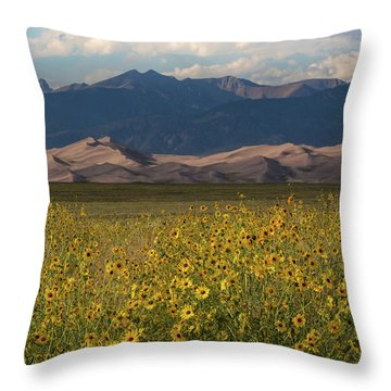 Wild Sunflowers Shine In The Grasslands Of The Great Sand Dunes N Throw Pillow
