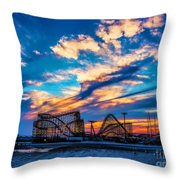 Wildwood Beach Sunset Throw Pillow