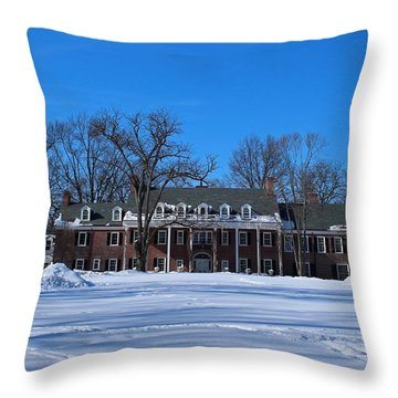 Wildwood Manor House In The Winter Throw Pillow