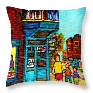Wilensky's Counter With School Bus Montreal Street Scene Throw Pillow by Carole Spandau