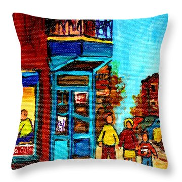 Wilensky's Lunch Counter With School Bus Montreal Street Scene Throw Pillow by Carole Spandau