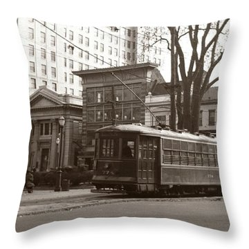 Wilkes Barre Pa Public Square Oct 1940 Throw Pillow