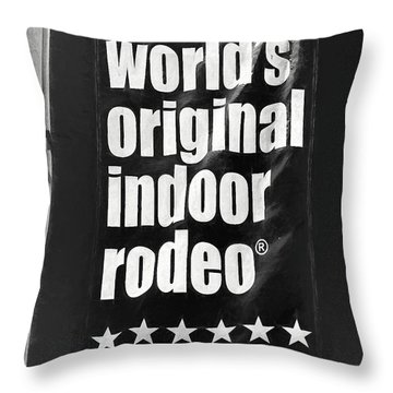 Will Rogers Rodeo Bw Throw Pillow