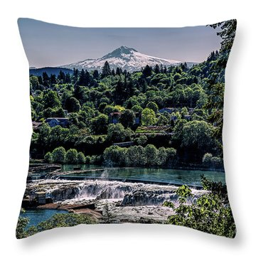 Willamette River Falls Locks Throw Pillow