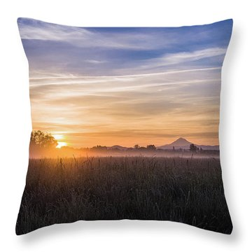 Willamette Valley Sunrise Throw Pillow