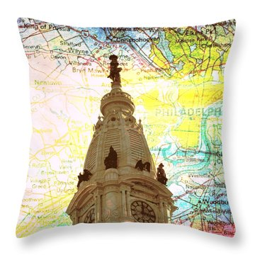 William Penn City Hall V3 Throw Pillow