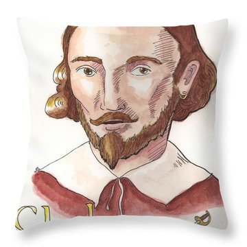 William Shakespeare Throw Pillow by Whitney Morton