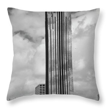 Williams Tower In Black And White Throw Pillow
