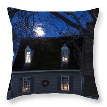 Williamsburg House In Moonlight Throw Pillow by Sally Weigand