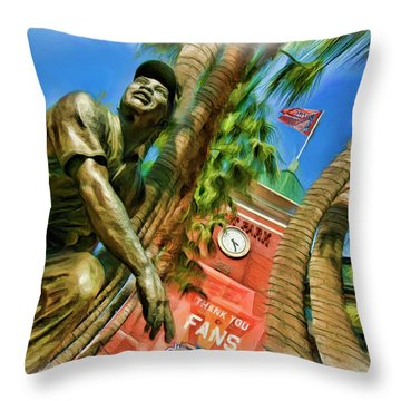 Willie Mays  Throw Pillow by Blake Richards