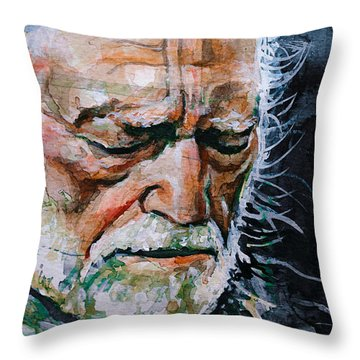Willie Nelson 7 Throw Pillow by Laur Iduc