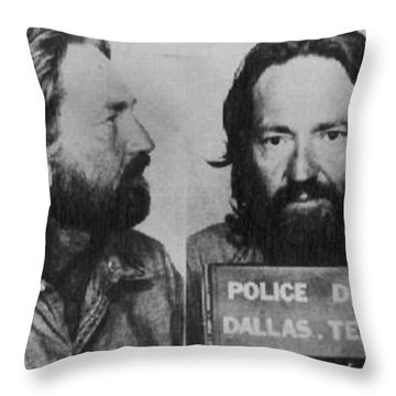 Willie Nelson Mug Shot Horizontal Black And White Throw Pillow