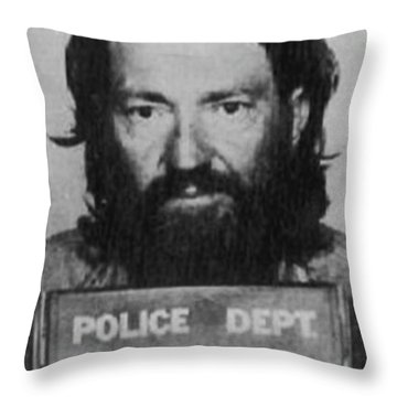 Willie Nelson Mug Shot Vertical Black And White Throw Pillow