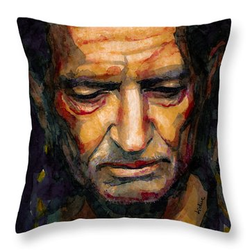 Willie Nelson Portrait 2 Throw Pillow by Laur Iduc