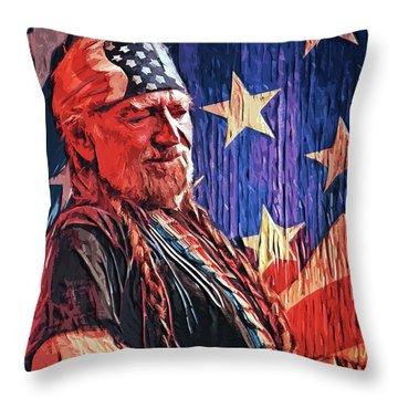 Willie Nelson Throw Pillow