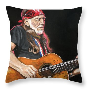 Willie Nelson Throw Pillow
