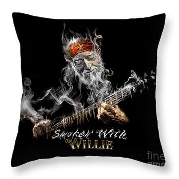 Willie Smoken' Throw Pillow