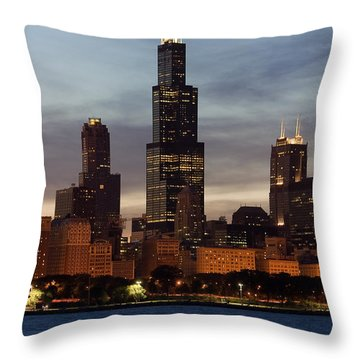 Willis Tower At Dusk Aka Sears Tower Throw Pillow by Adam Romanowicz