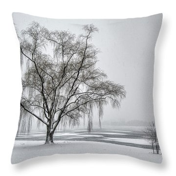 Willow In Blizzard Throw Pillow