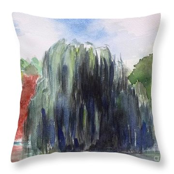 Willow Tree -2  Hidden Lake Gardens -tipton Michigan Throw Pillow by Yoshiko Mishina