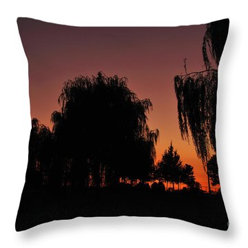 Willow Tree Silhouettes Throw Pillow by Joe  Ng