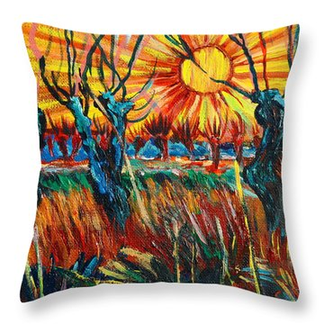 Willows At Sunset - Study Of Vincent Van Gogh Throw Pillow by Karon Melillo DeVega