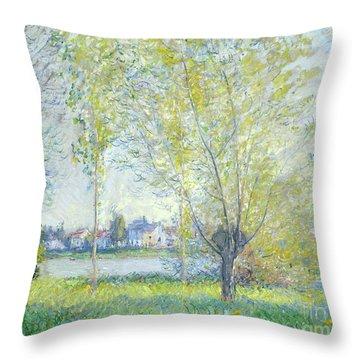 Willows At Vetheuil, 1880  Throw Pillow