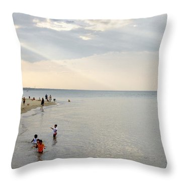 Wilmette Beach Labor Day 2009 Throw Pillow by John Hansen