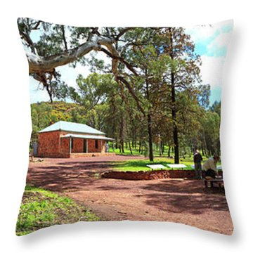 Wilpena Pound Homestead Throw Pillow by Bill Robinson