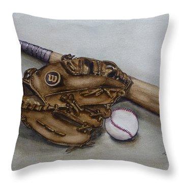 Wilson Baseball Glove And Bat Throw Pillow