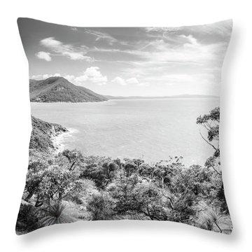 Wilsons Promontory Panorama Black And White Throw Pillow