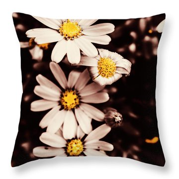 Wilting And Blooming Floral Daisies Throw Pillow