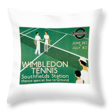 Wimbledon Tennis Southfield Station - London Underground - Retro Travel Poster - Vintage Poster Throw Pillow