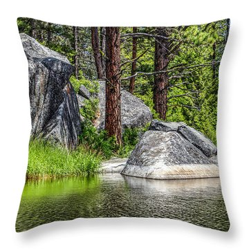Winchester Lake Rocks Throw Pillow by Brad Stinson