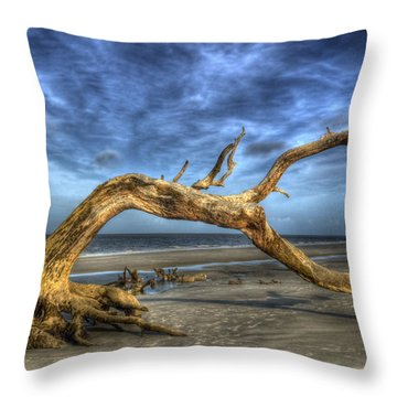 Wind Bent Driftwood Throw Pillow