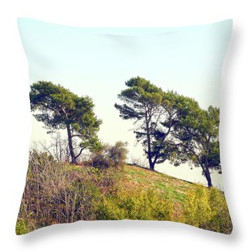 Wind Blown Trees Throw Pillow