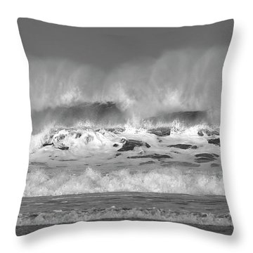 Throw Pillow featuring the photograph Wind Blown Waves by Nicholas Burningham