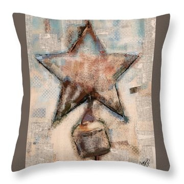 Throw Pillow featuring the mixed media Wind Chime by Carrie Joy Byrnes
