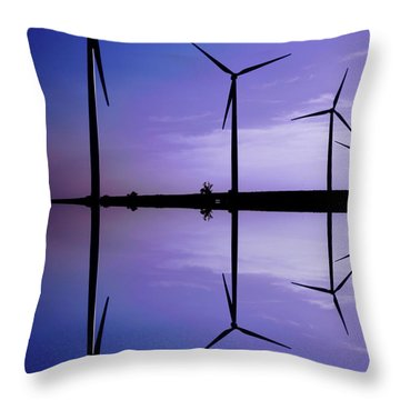 Wind Energy Turbines At Dusk Throw Pillow by Bob Pardue