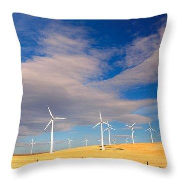 Wind Farm Against The Sky Throw Pillow