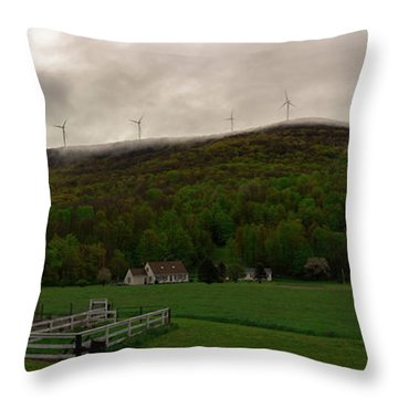 Throw Pillow featuring the photograph Wind Farm - Hancock Mass by Kirkodd Photography Of New England