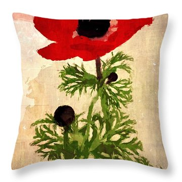 Throw Pillow featuring the digital art Wind Flower by Alexis Rotella